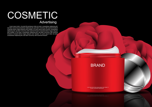 Cosmetic ads poster whitening cream with rose vector 01