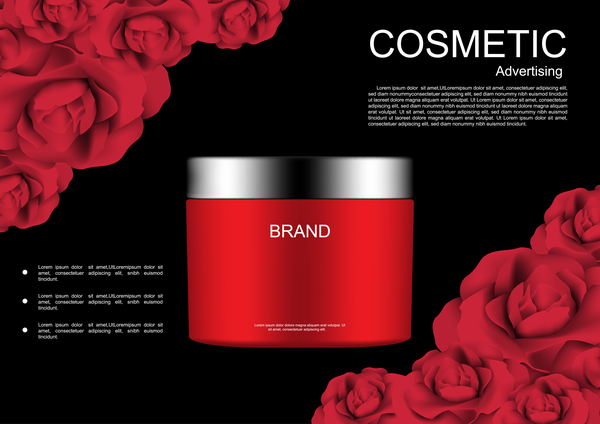 Cosmetic ads poster whitening cream with rose vector 02