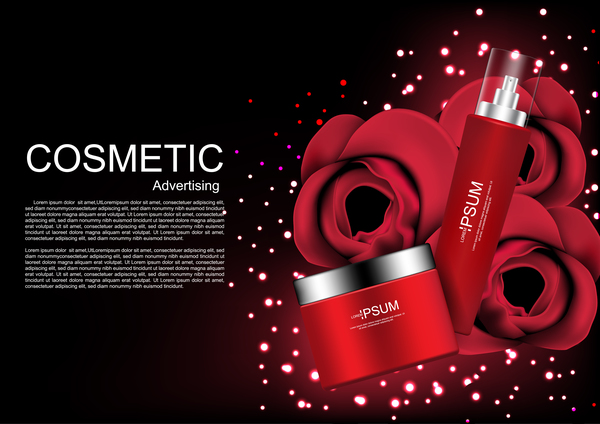 Cosmetic ads poster whitening cream with rose vector 03