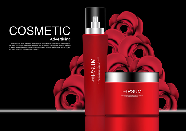 Cosmetic ads poster whitening cream with rose vector 04