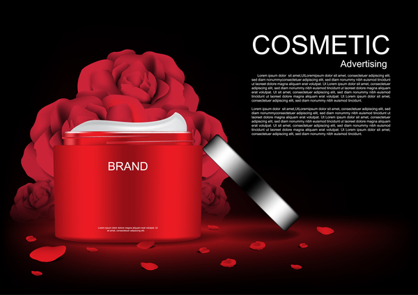 Cosmetic ads poster whitening cream with rose vector 05