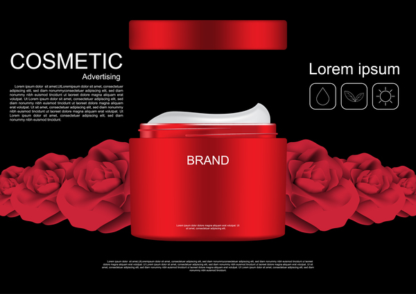 Cosmetic ads poster whitening cream with rose vector 06