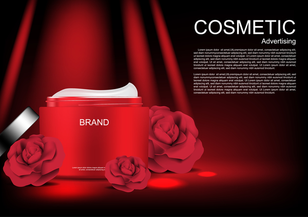 Cosmetic ads poster whitening cream with rose vector 07