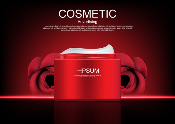 Cosmetic ads poster whitening cream with rose vector 08