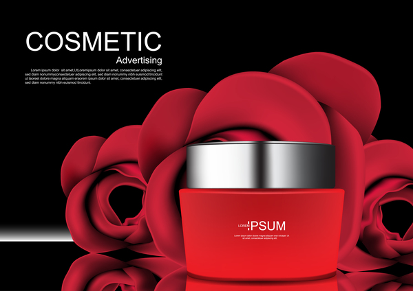 Cosmetic ads poster whitening cream with rose vector 09