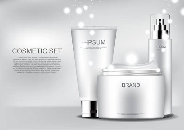 Cosmetic products with snow and poster template vector