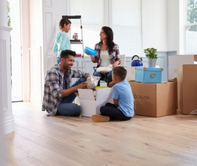 Couple Moving Into New Home Together Stock Photo 02