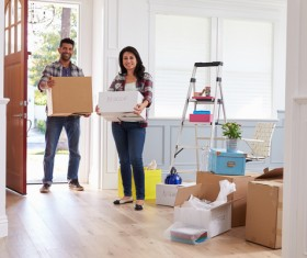 Couple Moving Into New Home Together Stock Photo 03
