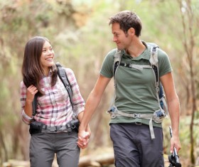 Couple hikers Stock Photo 02
