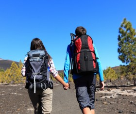 Couple hikers Stock Photo 03