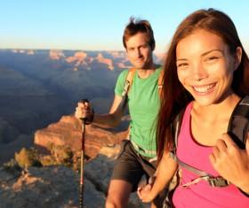 Couple hikers Stock Photo 04