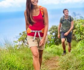 Couple hikers Stock Photo 06