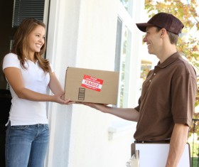 Courier delivery and customer Stock Photo
