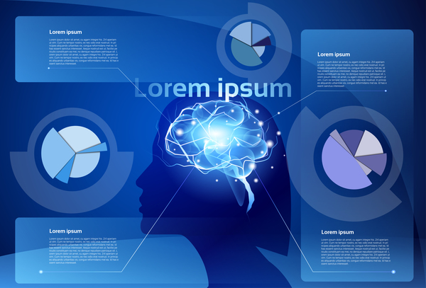Creative brain infographic vector 03