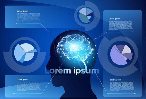 Creative brain infographic vector 04