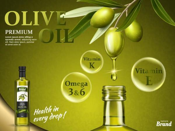 Creative olive oil poster design vector 01
