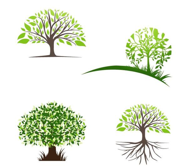 creative tree logos design vector free download