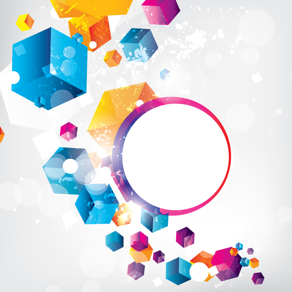 Cube with circle and grunge vector background 01
