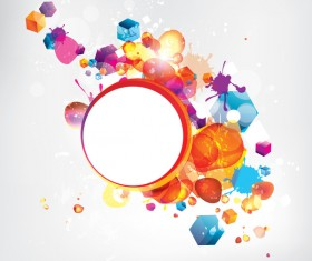 Cube with circle and grunge vector background 02