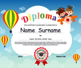 Cute kids diploma template vector 01