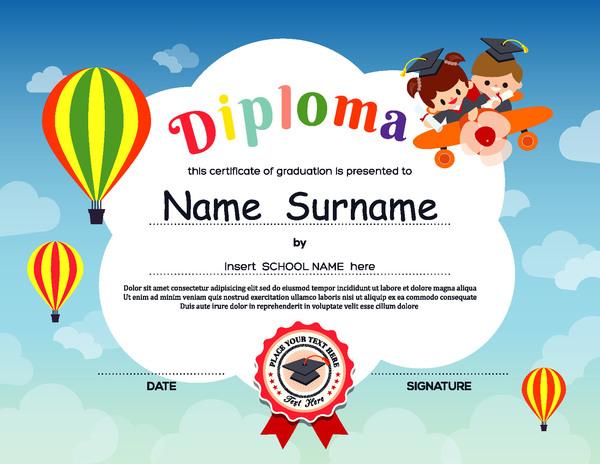 Cute kids diploma template vector 01