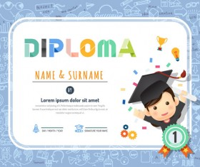 Cute kids diploma template vector 02