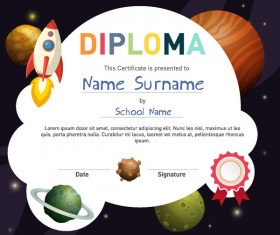 Cute kids diploma template vector 03