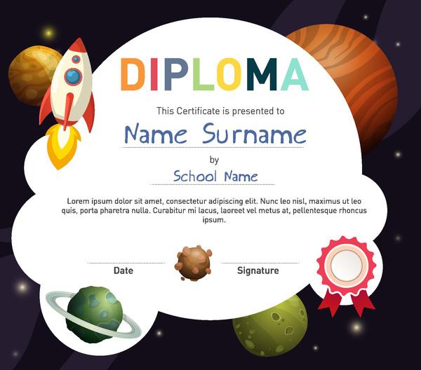 Cute kids diploma template vector 03
