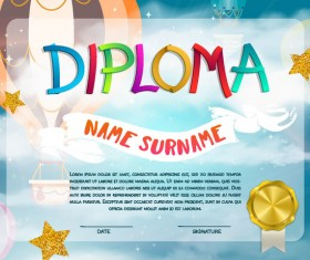Cute kids diploma template vector 04