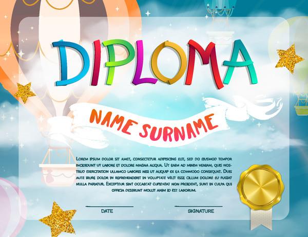 Cute kids diploma template vector 04