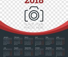 Dark 2018 calendar with photo vector