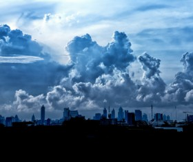 Dark clouds over the city HD picture