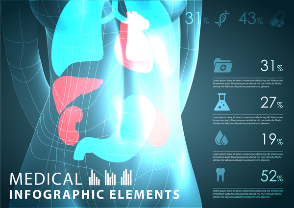 Dark color medical infgraphic elements vector 01