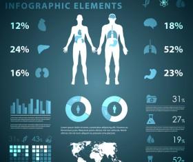 Dark color medical infgraphic elements vector 13