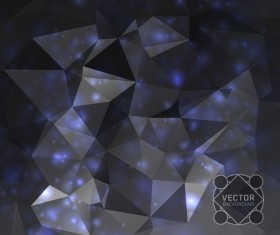 Dark polygon background with light dots vector