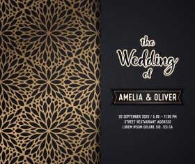 Decor pattern with wedding invitation card vector