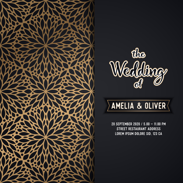 Decor pattern with wedding invitation card vector