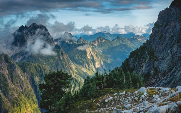 Deep in the mountains misty beauty Stock Photo
