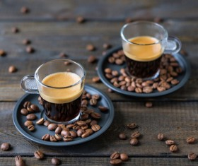 Delicious coffee with coffee beans HD picture