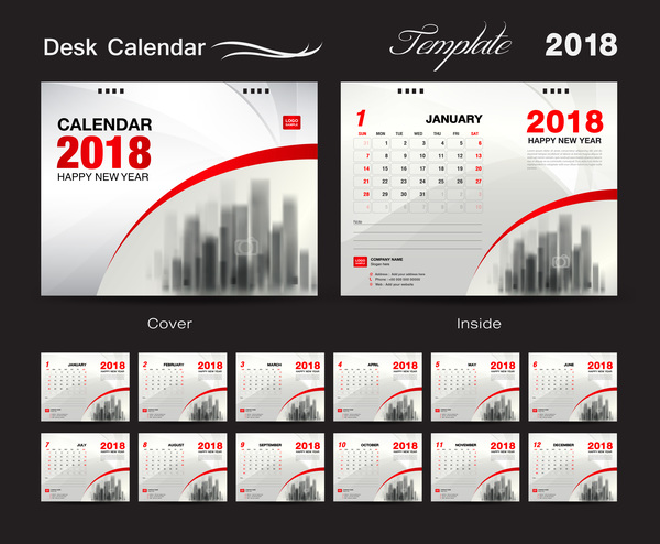 Desk Calendar 2018 template with red cover vector 01