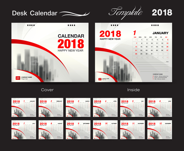 Desk Calendar 2018 template with red cover vector 02