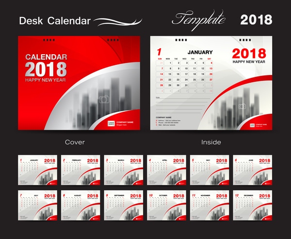 Desk Calendar 2018 template with red cover vector 03