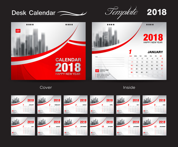 Desk Calendar 2018 template with red cover vector 04