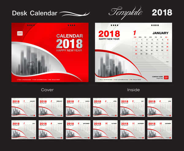 Desk Calendar 2018 template with red cover vector 05