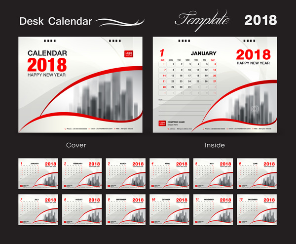 Desk Calendar 2018 template with red cover vector 06