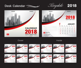 Desk Calendar 2018 template with red cover vector 07