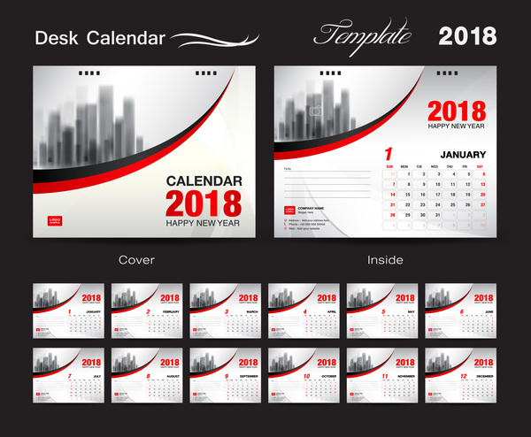 Calendar Cover Page Design : Desk calendar template with red cover vector