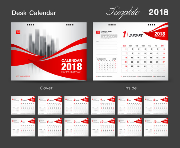 Desk Calendar 2018 template with red cover vector 08