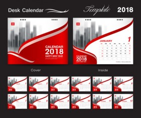 Desk Calendar 2018 template with red cover vector 09