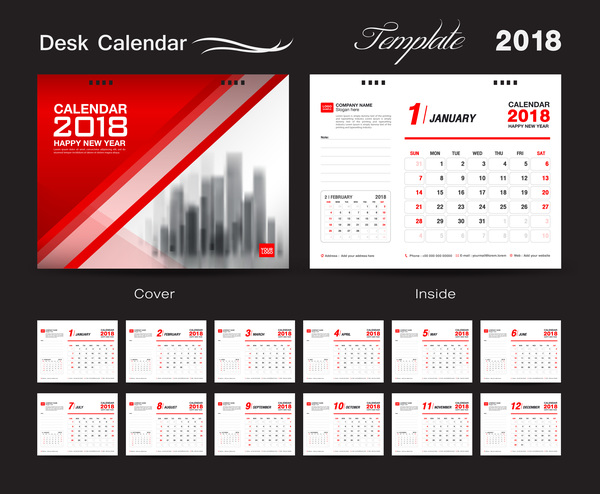 Desk Calendar 2018 template with red cover vector 10